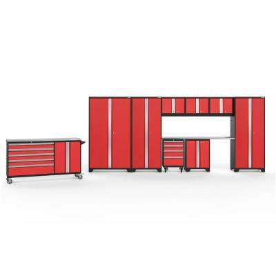Bold 3.0 77.25 in. H x 236 in. W x 18 in. D 24-Gauge Welded Steel Garage Cabinet Set in Red (10-Piece)
