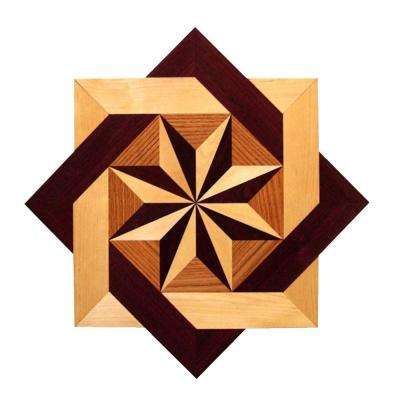 Star Medallion Unfinished Decorative Wood Floor Inlay MS002 - 5 in. x 3 in. Take Home Sample