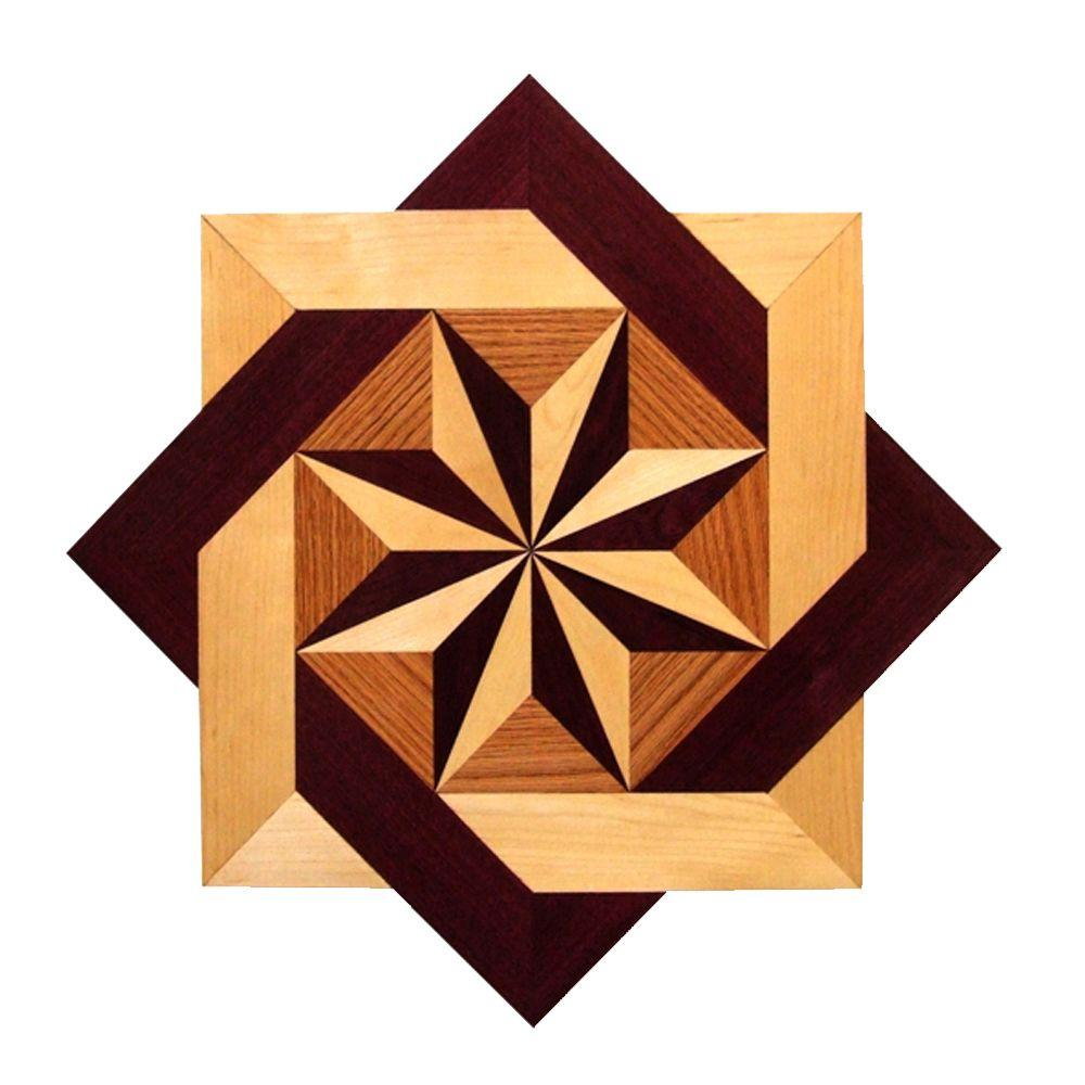 Wide Star Medallion Unfinished Decorative Wood Floor Inlay Ms002