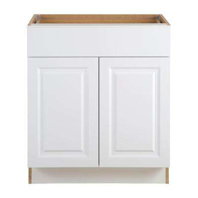Benton Assembled 30 in. x 34.5 in. x 24.5 in. Base Cabinet with Soft Close Full Extension Drawer in White