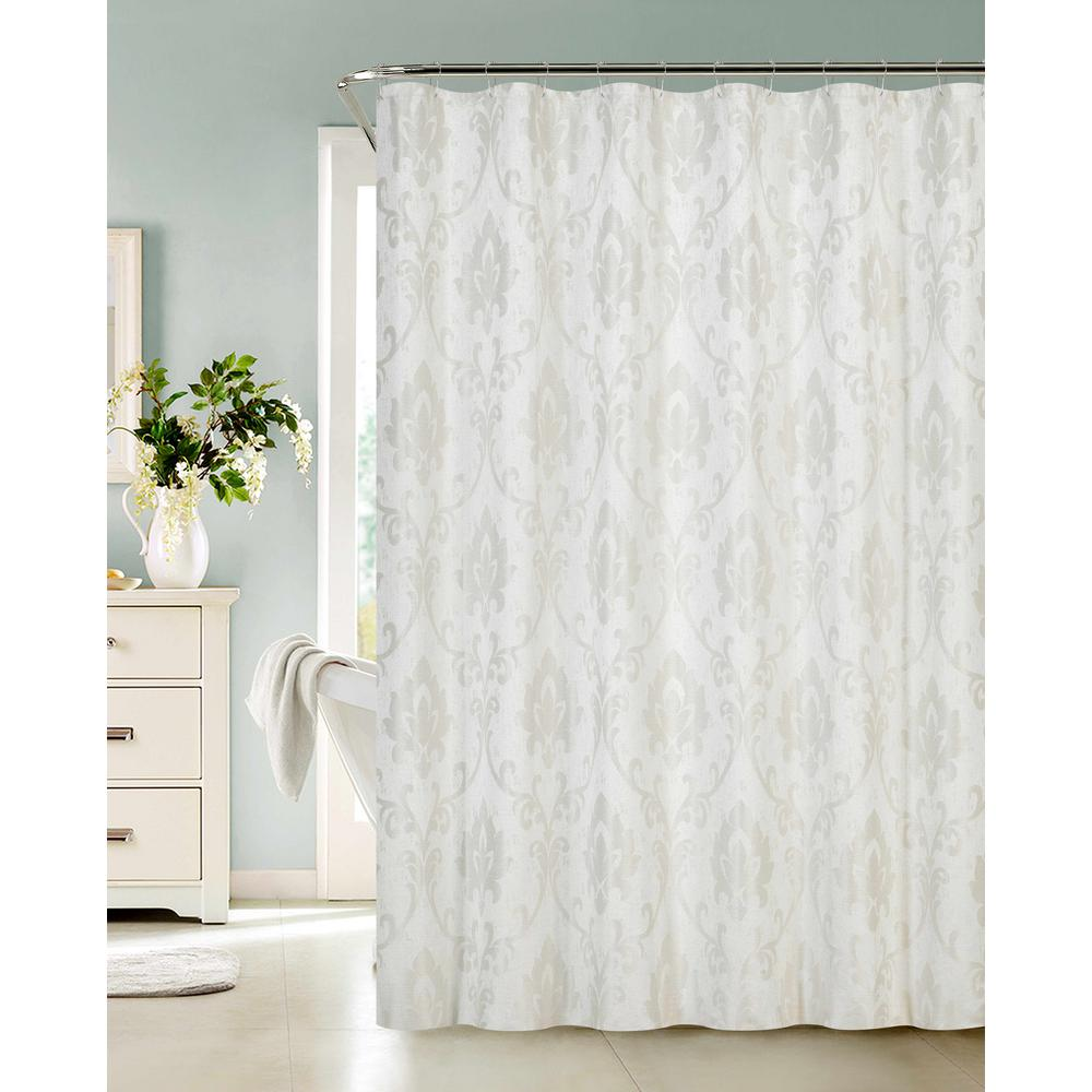 Good Ivory Fabric Shower Curtain With Lurex Ivory
