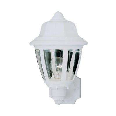 1-Light Matte White Outdoor Wall-Mount Lantern