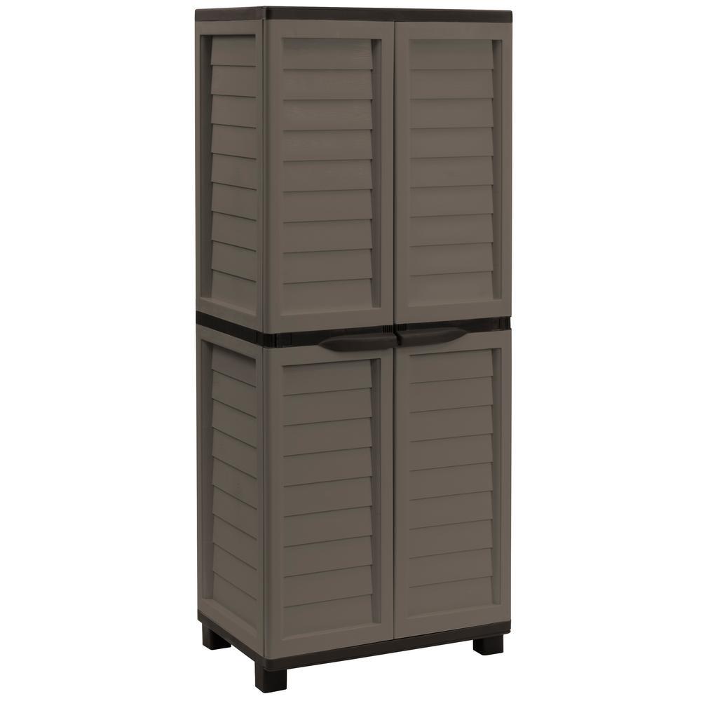 Starplast 2 Ft 5 In X 1 8 11 Plastic Mocha Brown Storage Cabinet With 4 Shelves