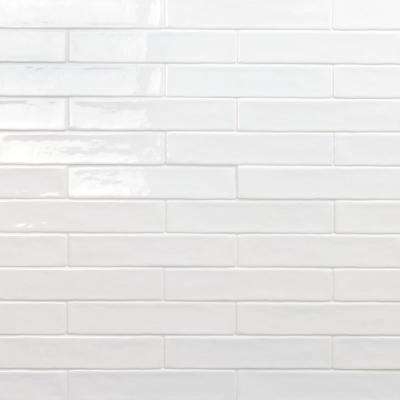 Newport White 2 in. x 10 in. x 11mm Polished Ceramic Subway Wall Tile (40 pieces / 5.38 sq. ft. / box)