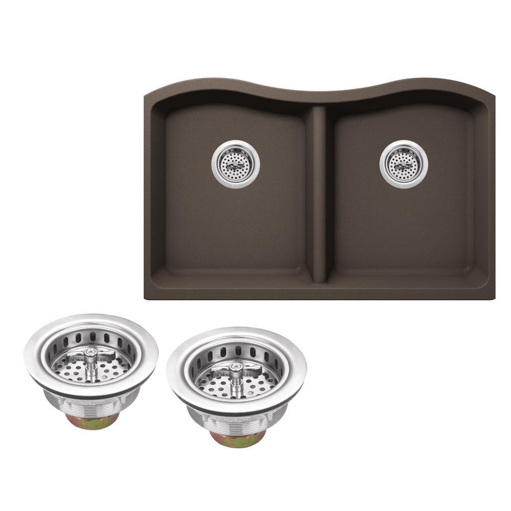 Undermount Granite Composite 33 in. Kitchen Sink in Mocha Brown