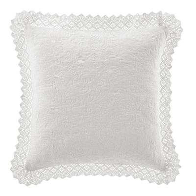 Crochet White Solid Cotton 16 in. x 16 in. Throw Pillow