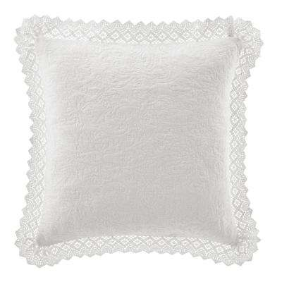 16 in. x 16 in. Solid Crochet White Throw Pillow