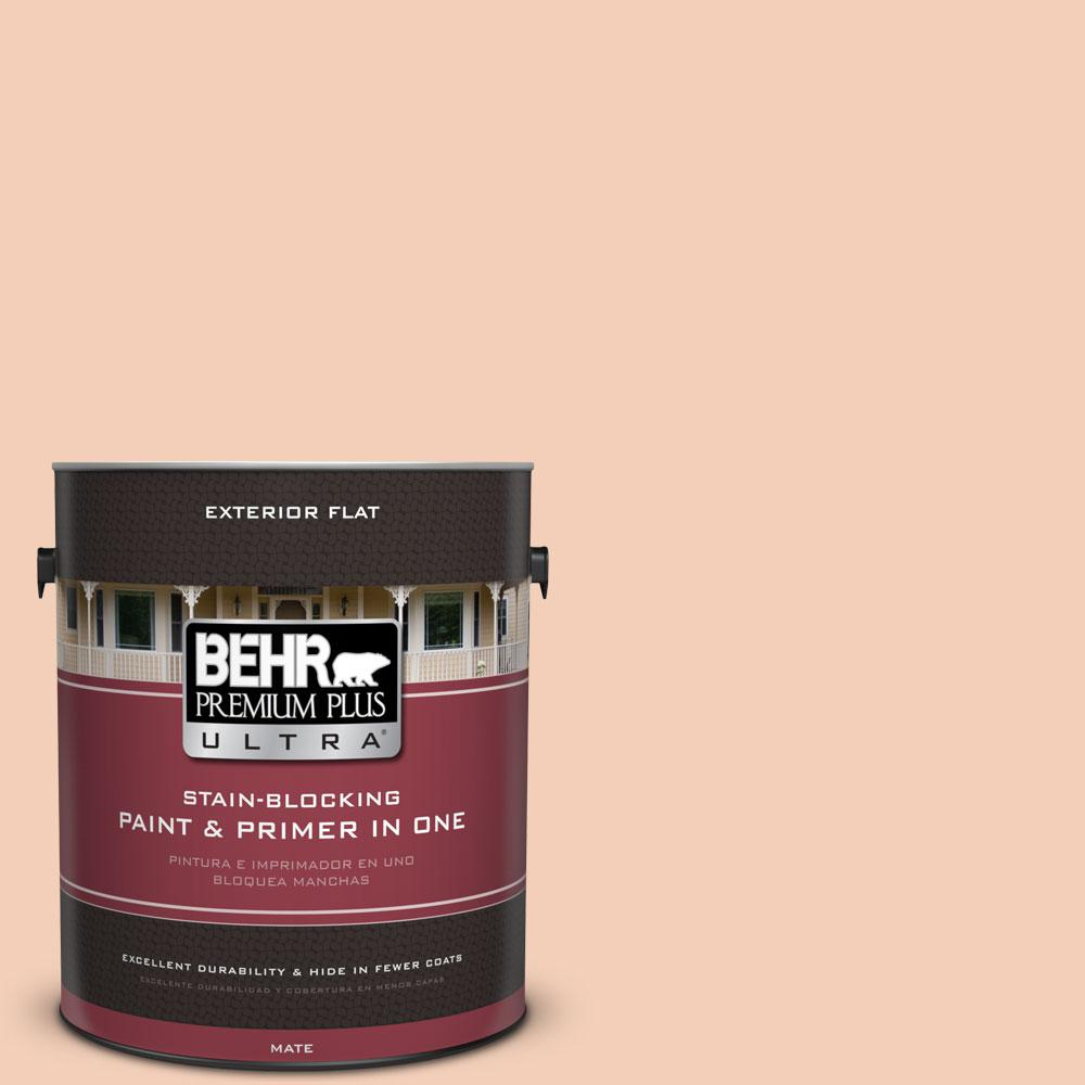 BEHR Premium Plus Ultra 1-gal. #M210-3 Apricot Freeze Flat Exterior Paint