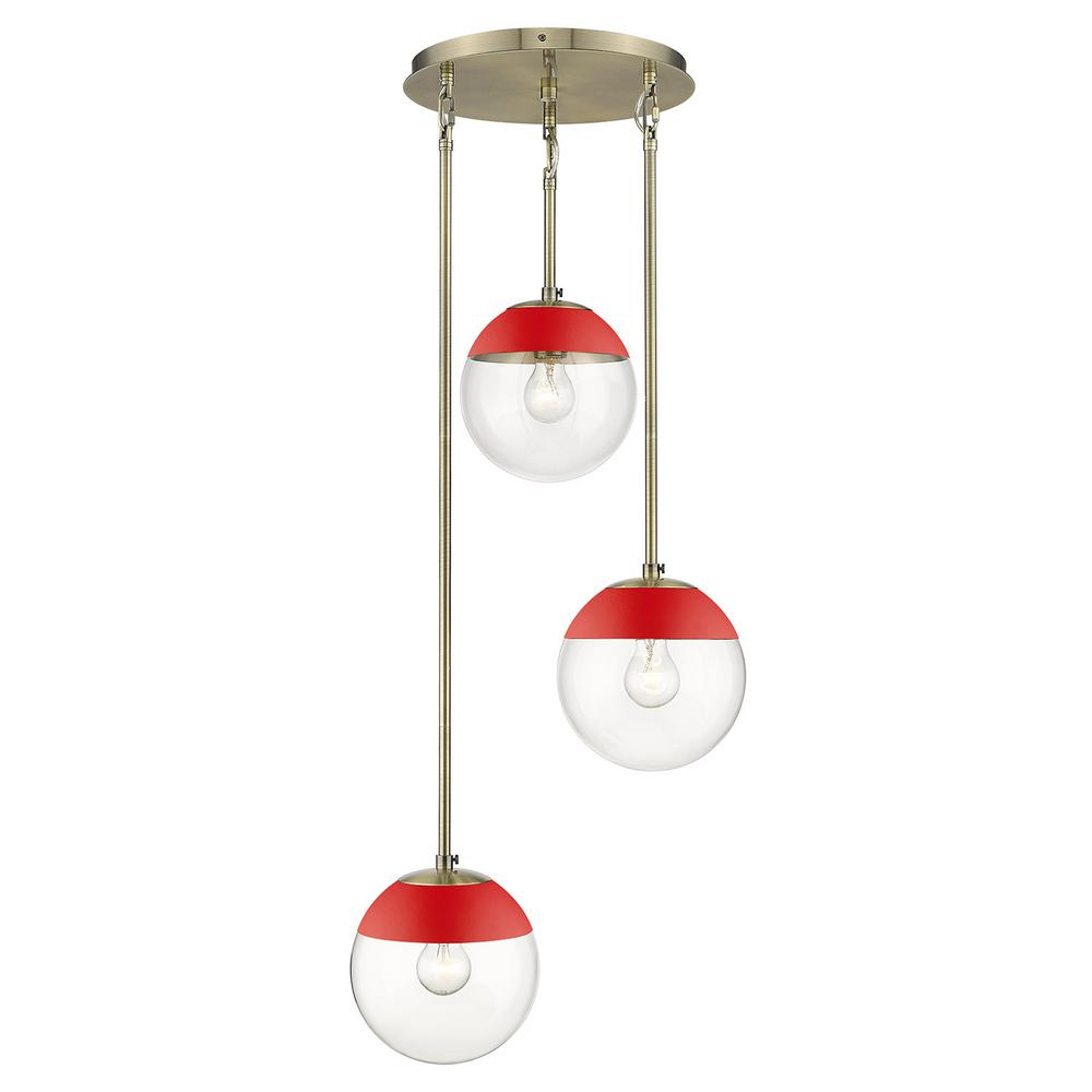 Golden Lighting Dixon 3-Light Pendant in Aged Brass with Clear Glass and Red Cap