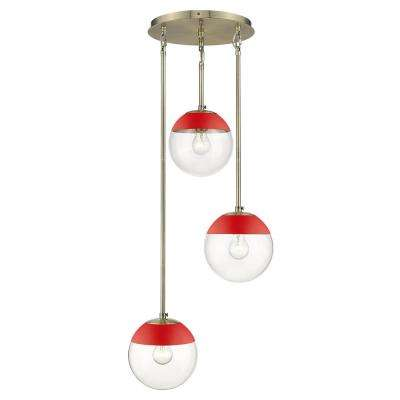 Dixon 3-Light Pendant in Aged Brass with Clear Glass and Red Cap