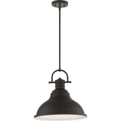 1-Light Integrated LED Indoor Foundry Bronze Downrod Pendant with Bell-Shaped Bowl