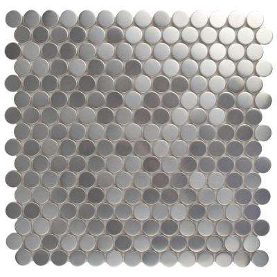 Meta Penny Round 11-3/4 in. x 11-3/4 in. x 8 mm Stainless Steel Over Ceramic Mosaic Tile