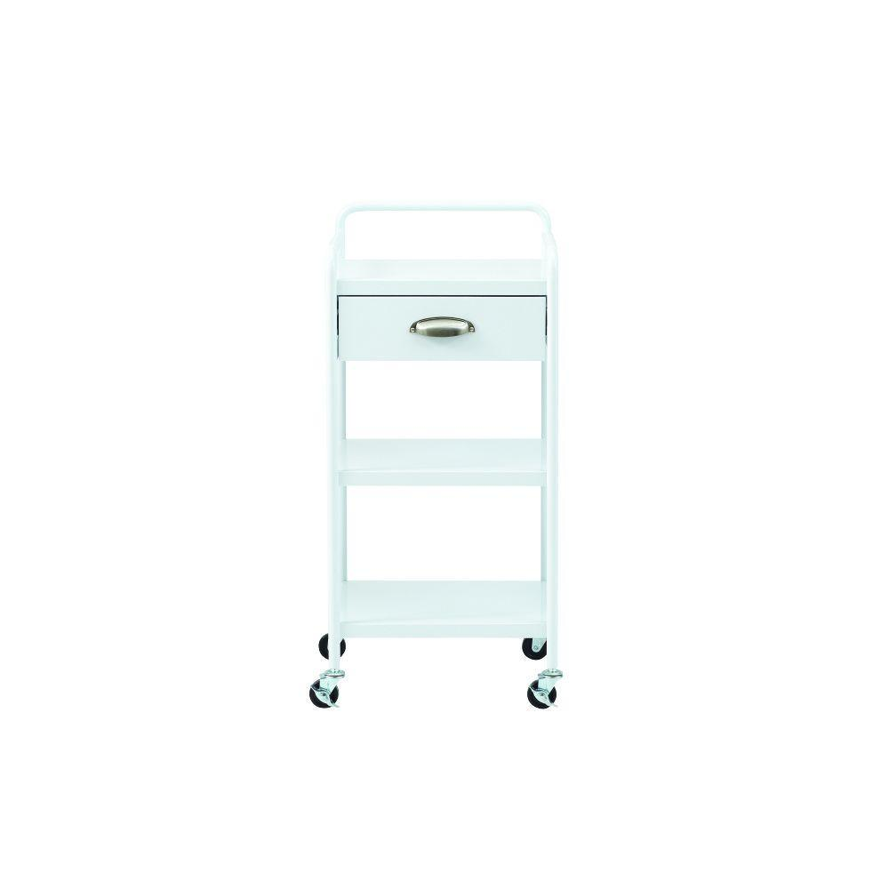 Steel 1-Drawer Cart in Glossy White