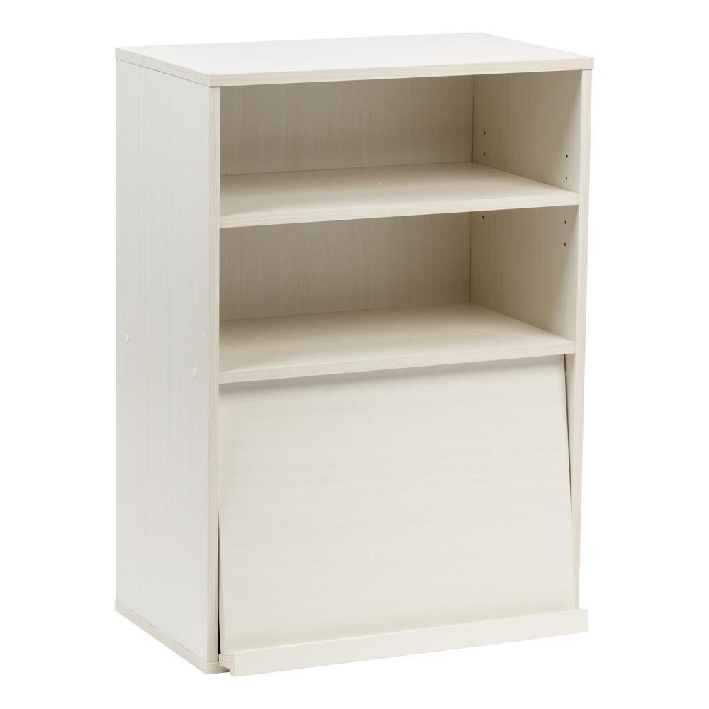 Collan Series Off White Open Wood Shelf With Pocket Door