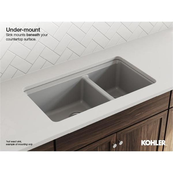 Kohler Brookfield Undermount Cast Iron 33 In Double Bowl Kitchen Sink With Simplice Faucet K 596 Cp 5846 5u 0 The Home Depot