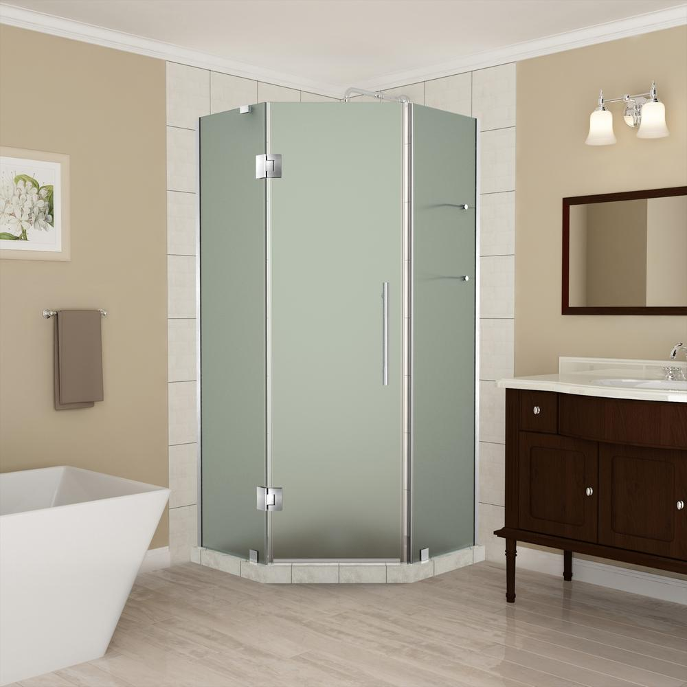 Aston 36 to 36.5 in. x 72 in. Frameless Hinged Neo-Angle Shower ...