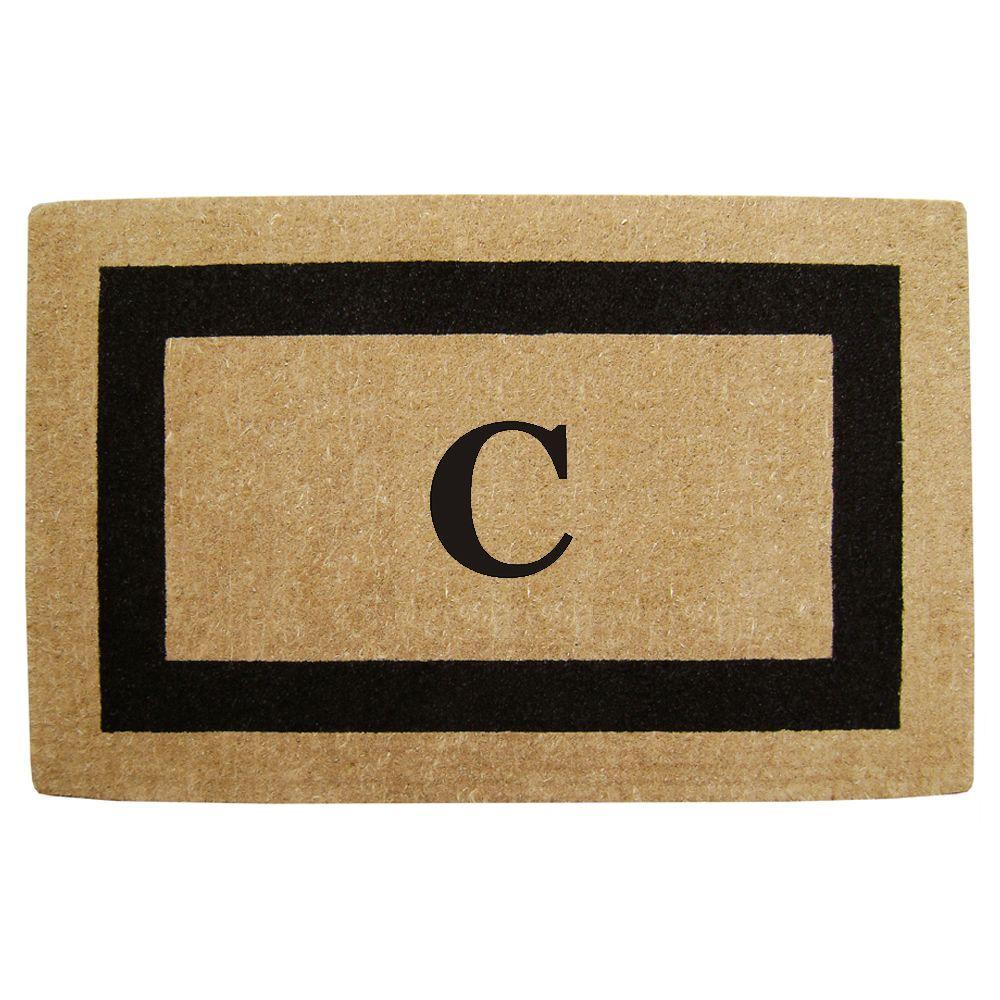 Single Picture Frame Black 30 in. x 48 in. HeavyDuty Coir Monogrammed C Door Mat