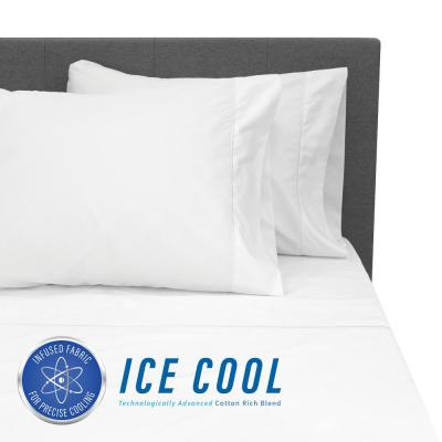 Ice Cool 4-Piece White 400 Thread Count Cotton/Nylon Queen Sheet Set