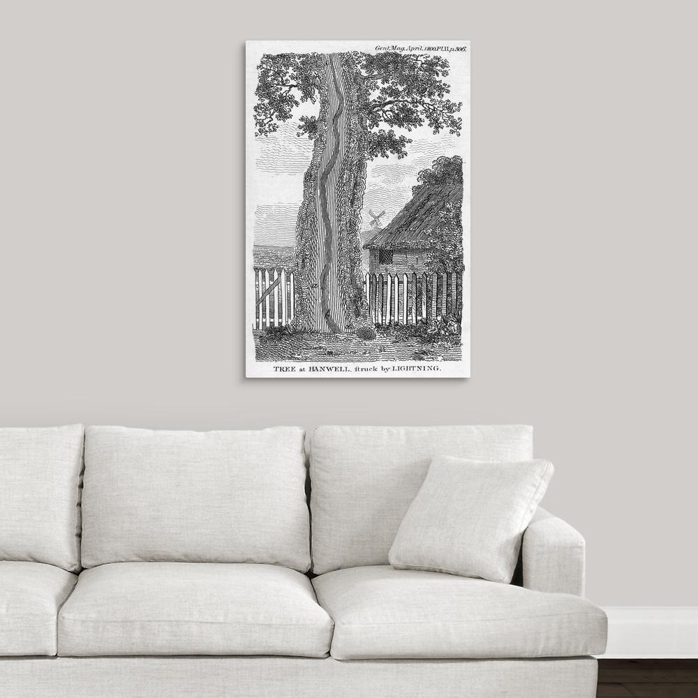 ''Engraving of a tree split by lightning'' by Science Photo Library Canvas Wall Art
