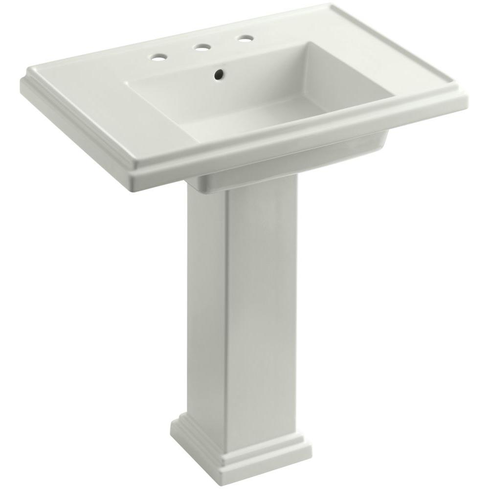 KOHLER Tresham Ceramic Pedestal Combo Bathroom Sink with 8 in. Centers in Dune with Overflow Drain