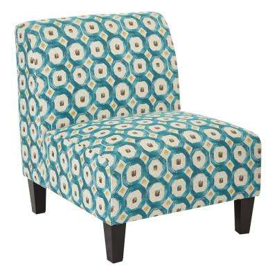 Magnolia Geo Dot Teal Fabric Accent Chair and Solid Wood Legs