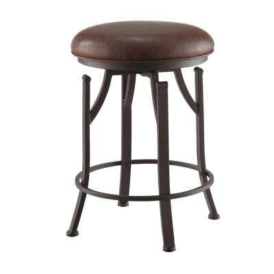 Rainier 24 in. Brown/Bronze Swivel Counter Stool