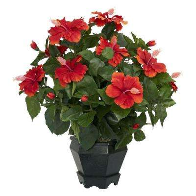 20 in. H Red Hibiscus with Black Hexagon Vase Silk Plant