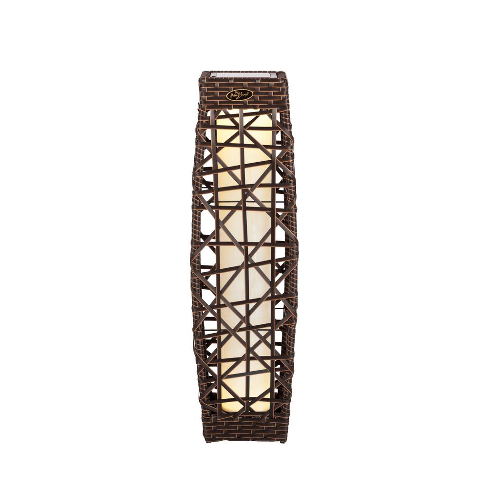 Wailea Rattan Brown Integrated LED Solar Deck Light