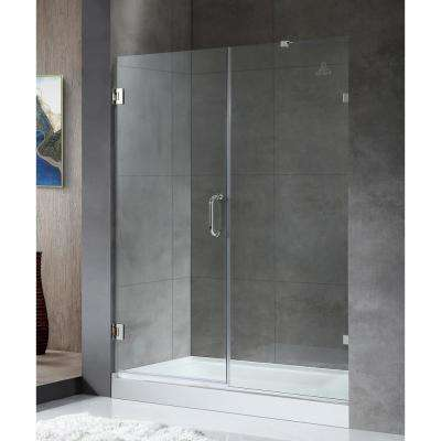 Consort Series 58.5 in. x 72 in. Frameless Pivot Shower Door in Polished Chrome with Handle