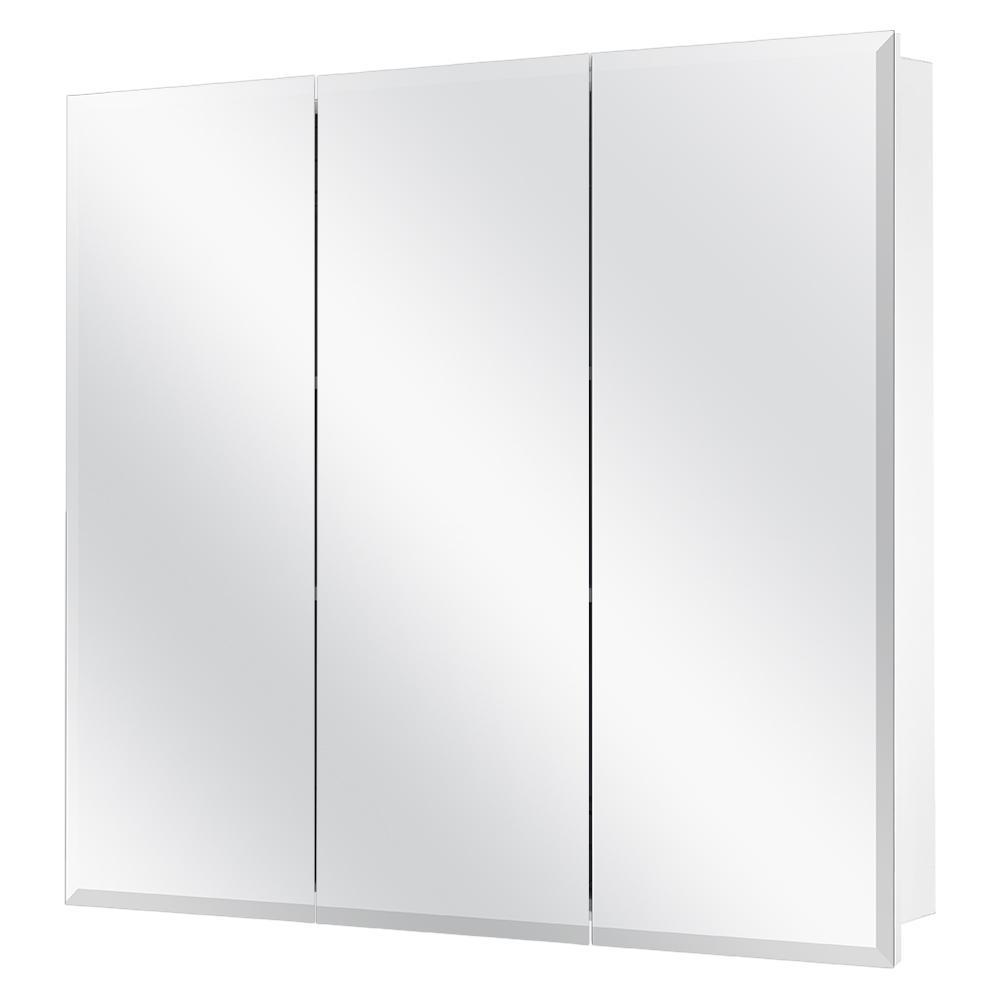Large Bathroom Mirror Modern Storage Shelves Wall Mounted Cabinet White Unit