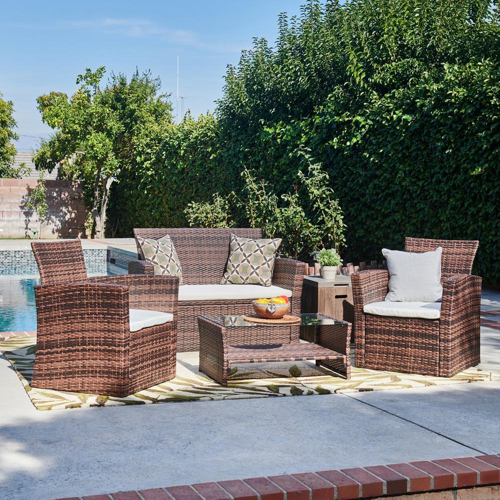 Nola Dark Brown 4-Piece All-Weather Wicker Patio Conversation Set with Beige Cushions