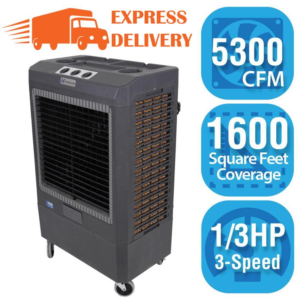 Hessaire Hessaire 5,300 CFM 3-Speed Portable Evaporative Cooler (Swamp Cooler) for 1,600 sq. ft., Gray