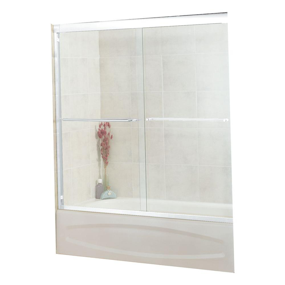 MAAX Tonik 59-1/2 in. x 57-3/8 in. Frameless Sliding Tub Door in Chrome with 6MM Clear Glass