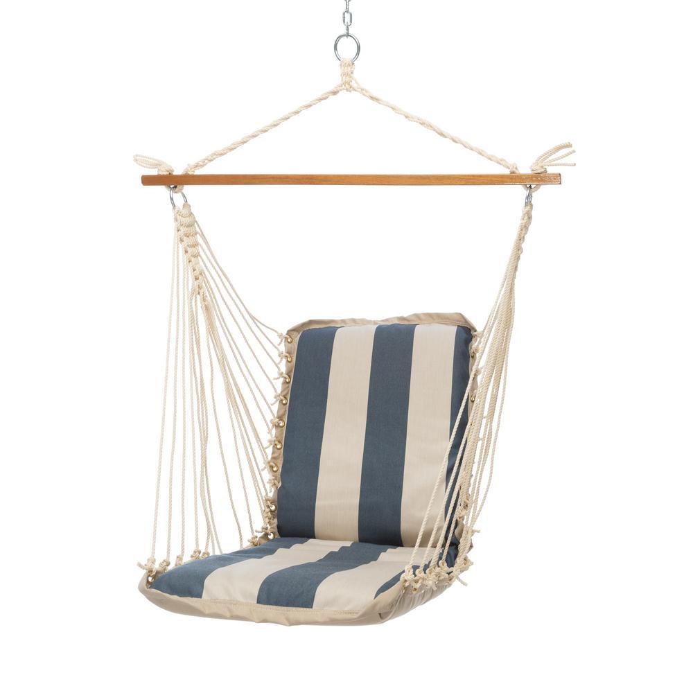 Click here to buy  Single Sunbrella Cushioned Hammock Swing in Regency Indigo.