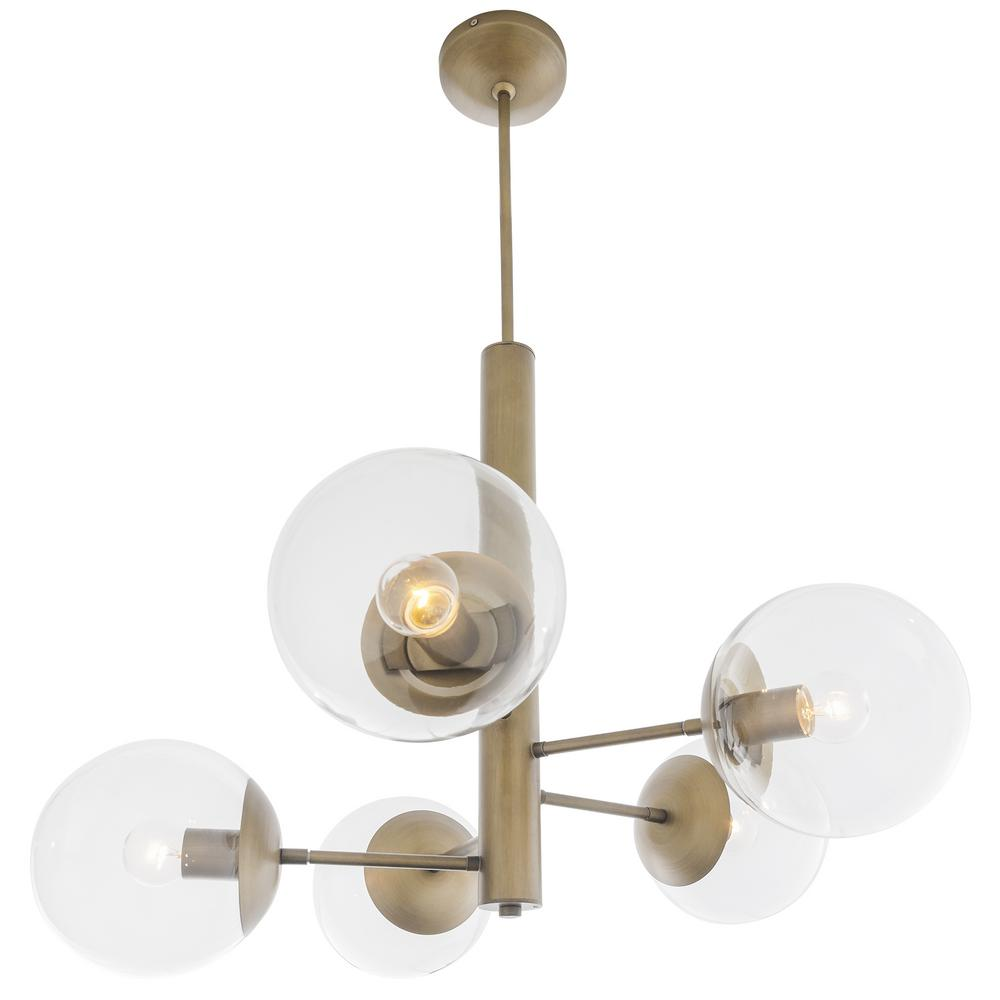 Varaluz Rogue Decor Mid Century 5 Light Antique Brass Chandelier With Clear  Glass