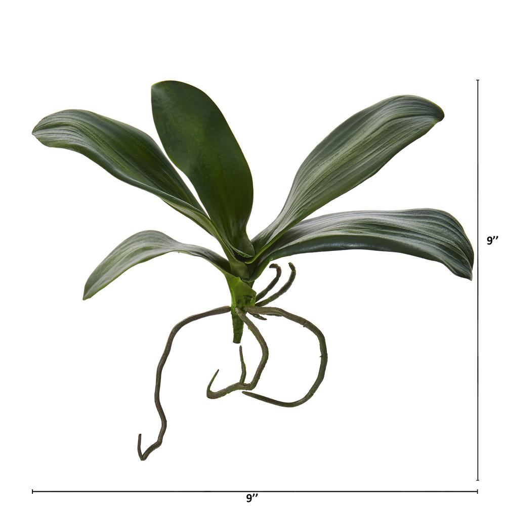 Set Of 3 Artificial Grass Orchid Leaf Bush Flower Decoration