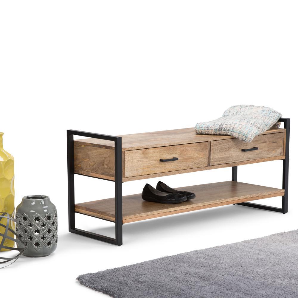 Simpli Home Riverside Natural Storage Bench