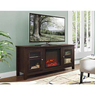 58 in. Wood Media TV Stand Console Electric Fireplace in Traditional Brown