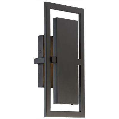 Railford 1-Light Oil Rubbed Bronze Outdoor Integrated LED Wall Lantern Sconce with Etched Lens