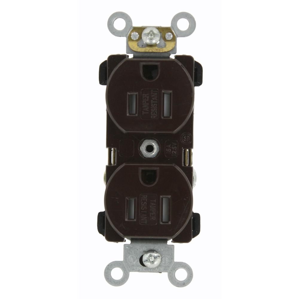 Leviton 15 Amp Commercial Grade Tamper Resistant Back Wired Self ...