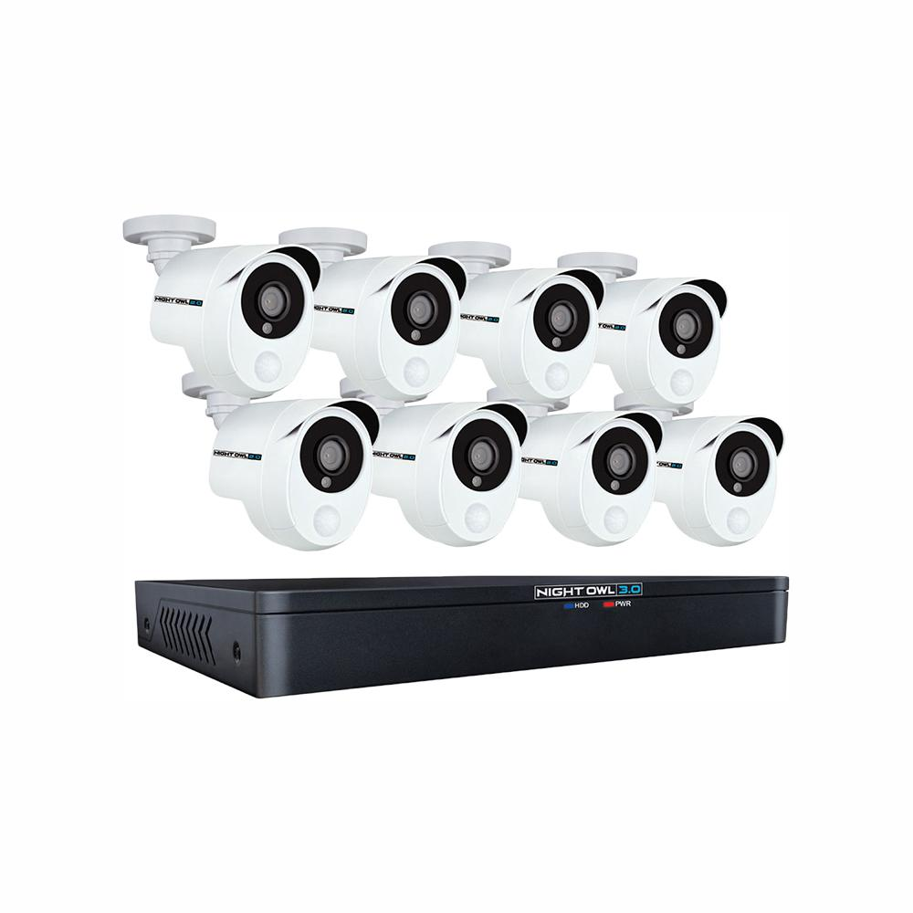 Night Owl 8-Channel 3MP 1TB DVR Security Camera System with 8 Wired 1080p Smart Infrared Bullet Cameras