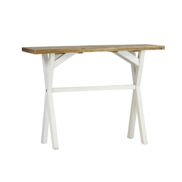 Lux Home Byron Distressed White Solid Reclaimed Wood Console Table