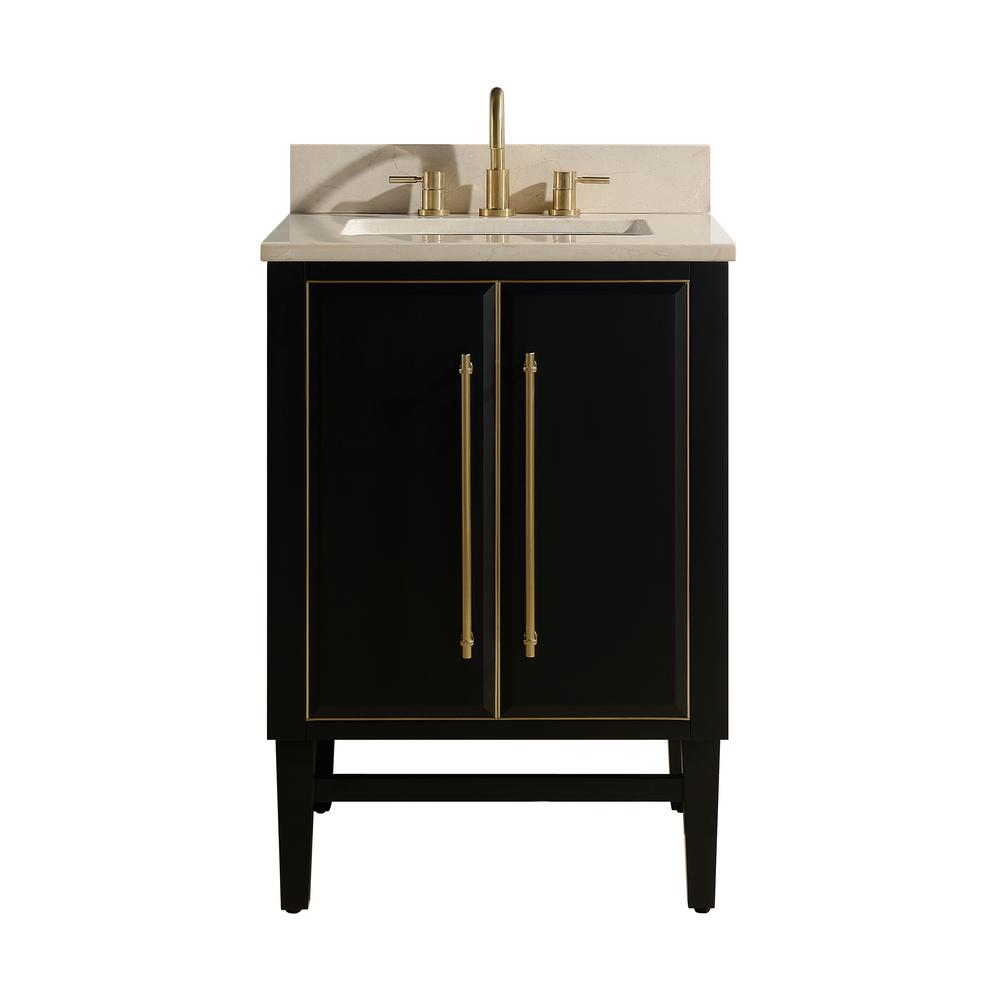Avanity Mason 25 in. W x 22 in. D Bath Vanity in Black with Gold Trim with Marble Vanity Top in Crema Marfil with White Basin
