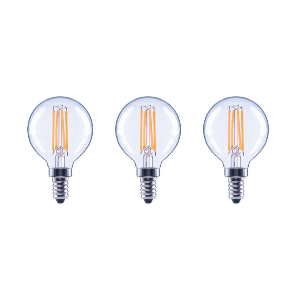 40-Watt Equivalent G16.5 Globe Dimmable Energy Star Clear Glass Filament Vintage LED Light Bulb Soft White (3-Pack)