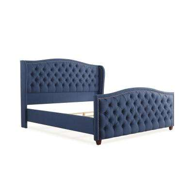 Marcella Dark Sapphire Blue King Upholstered Bed