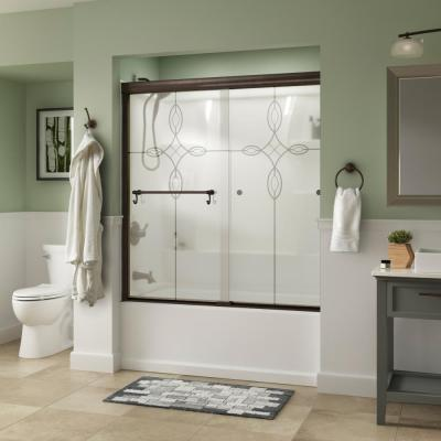 Portman 60 in. x 58-1/8 in. Semi-Frameless Traditional Sliding Bathtub Door in Bronze with Tranquility Glass
