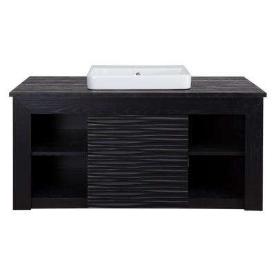 Zuvitria 43 in. Vanity in Black with Granite Vanity Top in Black