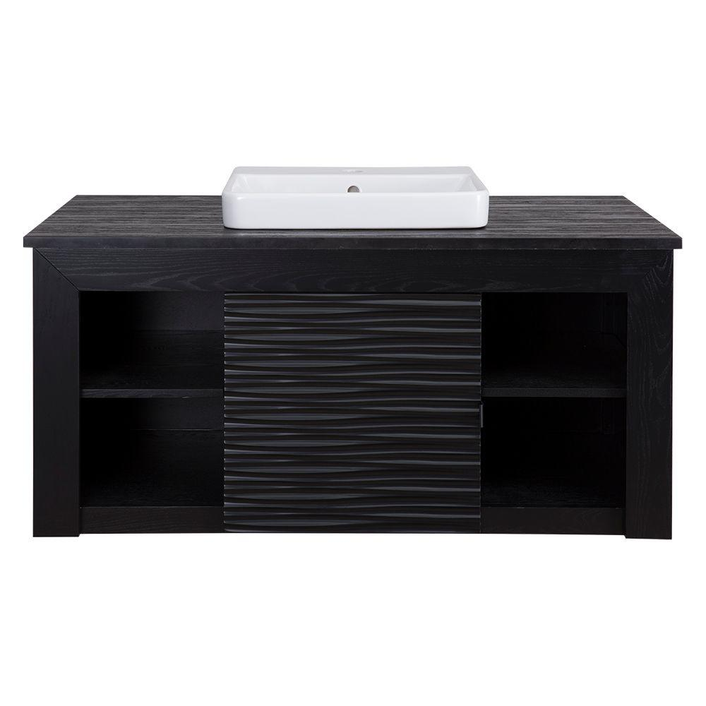 Schon Cues Zuvitria 43 in. Vanity in Black with Granite V...