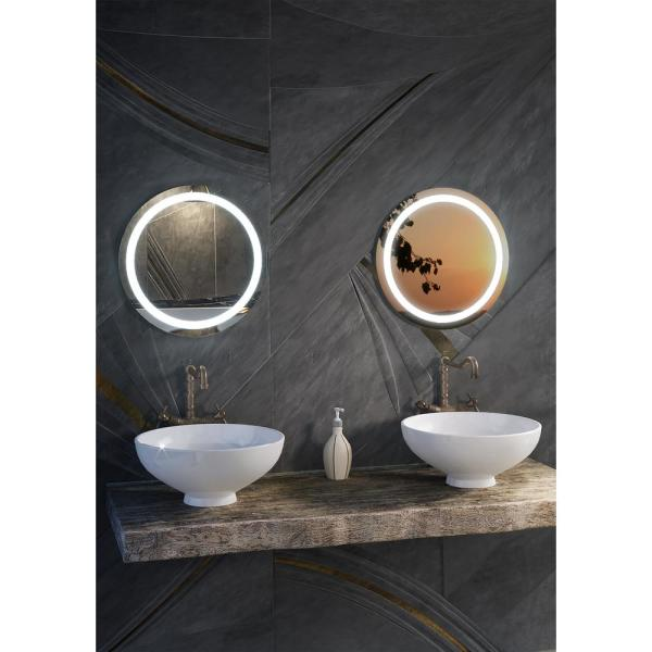 Ilana 24 In W X 24 In H Frameless Round Led Light Bathroom Vanity Mirror In Stainless Steel Cvil24led The Home Depot
