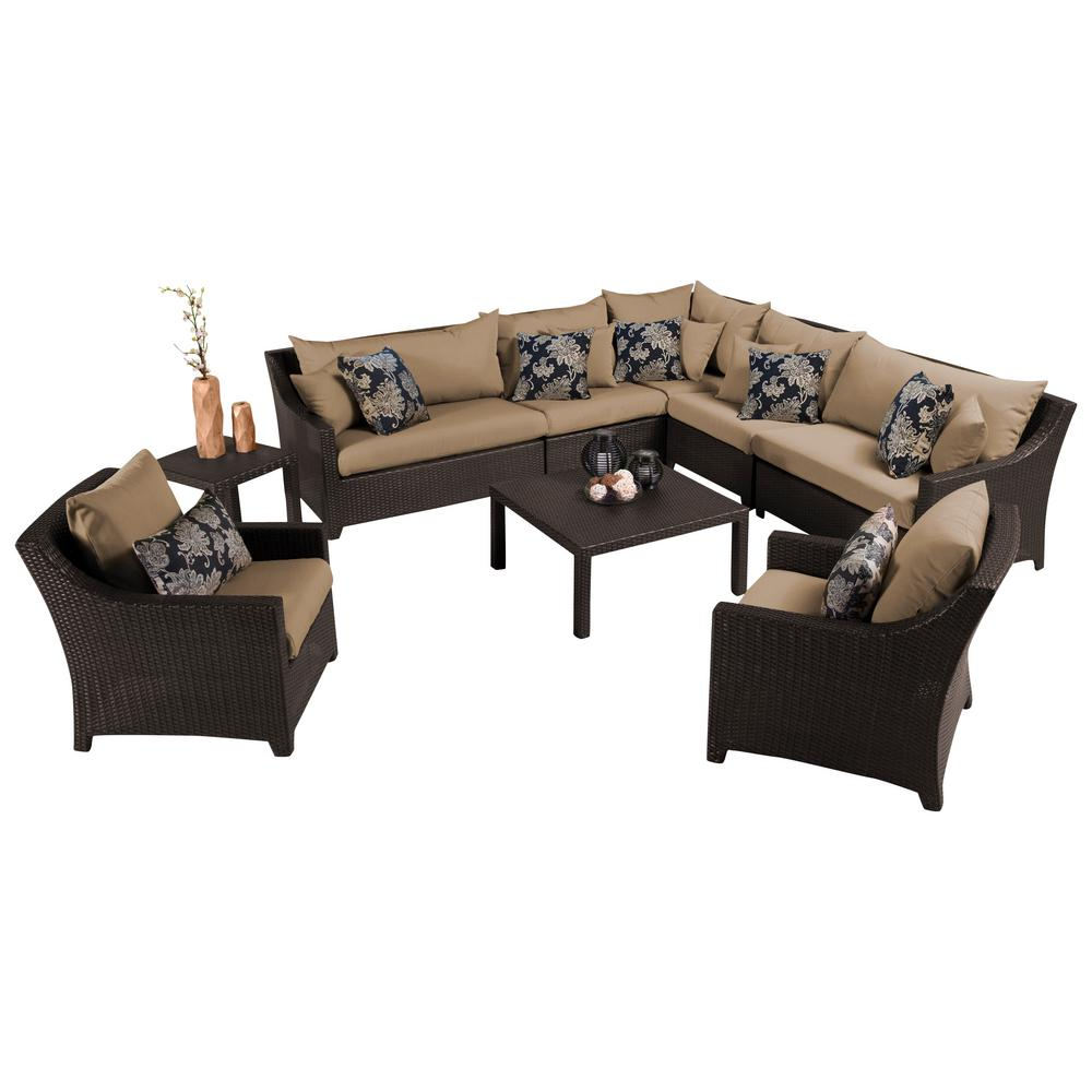 RST Brands Deco 9-Piece Patio Sectional Seating Set with Delano Beige Cushions